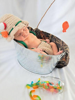 newborn baby fishing fisherman fish Set Crochet knitted outfit photography prop