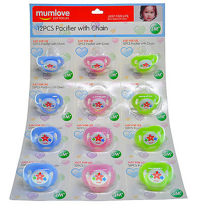 12-60 Wholesale Job Lot Baby Dummies 0m+ for Girls, Boys Mixed Colours, new