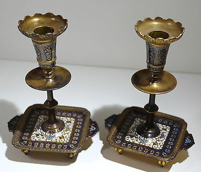 French Gilt Bronze Champleve Enamel Pair of Candlesticks Circa 1890s