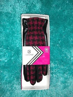 Pink -Ish Red & Black Houndstooth Stretch Winter Isotoner Gloves Misses O/S Nwt