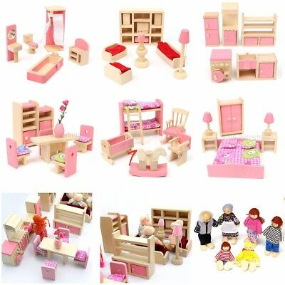 Wooden Furniture 6 Room Set Dolls House Family Miniature For Kids Children Toy