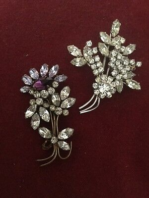 Two Beautiful Vintage Costume Paste Brooches of Floral and Petal Form 1950s ?