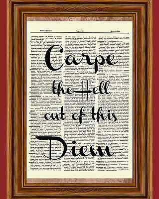 Carpe Diem Dictionary Art Print Picture Poster Dead Poets Society Quote