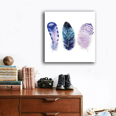Abstract Feather Stretched Canvas Prints Framed Wall Art Home Decor Painting III