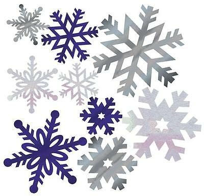 Snowflake Christmas Cut Out Decorations - 12 in Assorted Sizes