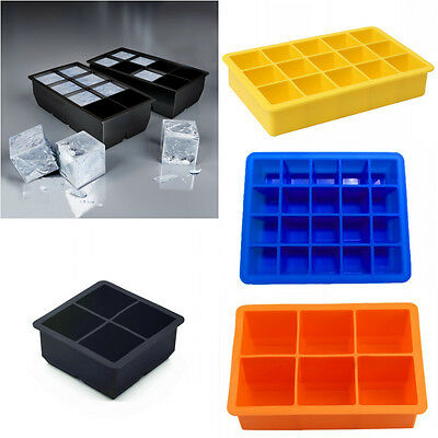 Silicone 4/6/8/15/20-Cavity Cube Ice Pudding Jelly Maker Mold Mould Tray Tool 7a