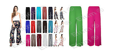 Womens Ladies Plus Size Plain Palazzo Wide Leg Flared Trousers Legging Pants UK