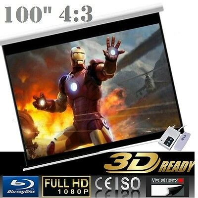 """Pro 100"""" 4:3 Electric Auto Projector Motorized Projector screen"""