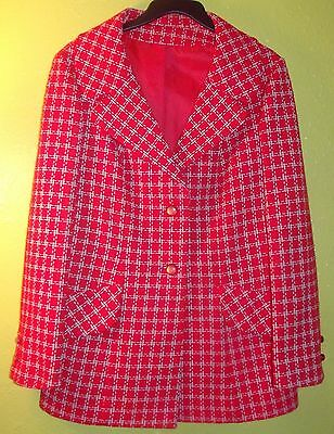 Vintage 50s 60s Mod Red & White Light Weight Lined Jacket Coat Betty Rose Sz M/L
