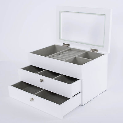 Large White Wooden Jewellery Box Glass Lid Storage 2 Drawers Xmas Gift