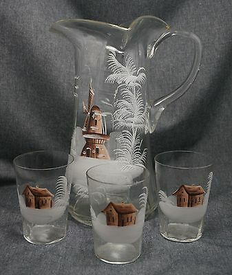Hand Blown Hand Painted WINDMILL GLASS PITCHER Pontil + 3 Glasses CABIN in SNOW