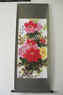 """Chinese Hanging Scroll """"Peony Flower Painting"""""""