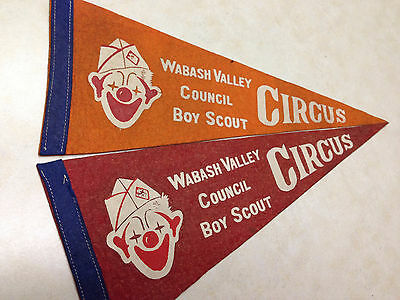 2 Wabash Valley Council Scout Circus Felt Pennants