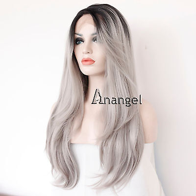 """Cap+24"""" Gray Lace Front Wig Long Wavy Ombre Heat Resistant Synthetic Hair Wigs"""