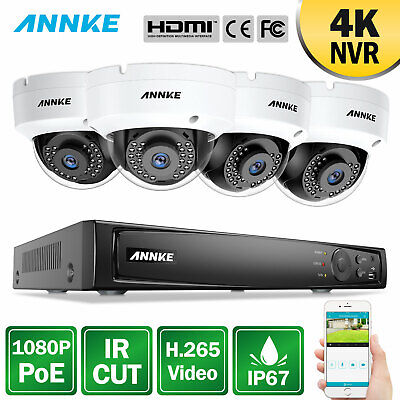ANNKE 1080P 4CH 6MP NVR Hikvision OEM POE Outdoor Home Security Camera System HD