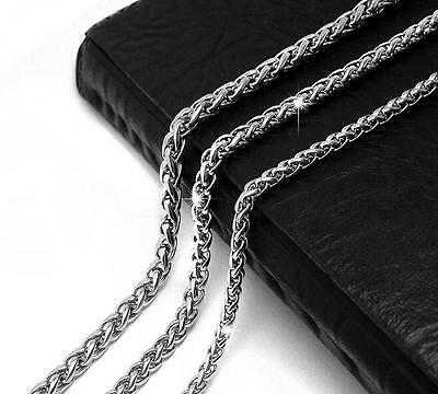 "3/4/5MM 18-35"" MENS Silver 316L Stainless Steel Wheat Braided Chain Necklace"