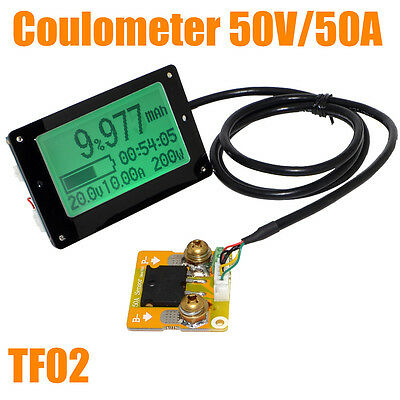 TF02N 50V 50A Battery Capacity Tester Voltage Current Display Coulomb Counter