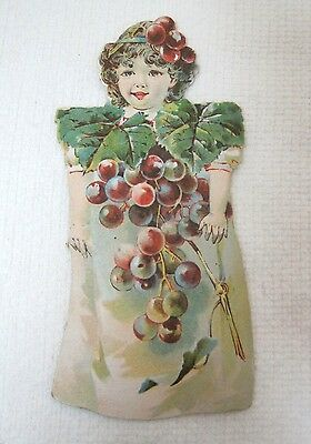 1895 Barbour's Bros Irish Flax Thread Paper Doll Grapes Trade Card  Die Cut