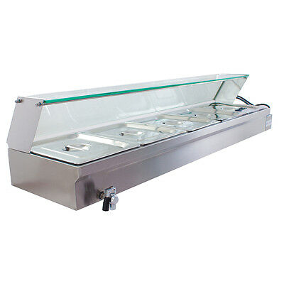 New Stainless Steel Food Warmer Bain Marie With 5 X Gn Trays & Glass Cover