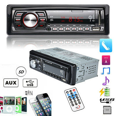 Car Stereo Audio 1 DIN In-Dash Aux Input FM Receiver SD USB MP3 WMA Radio Playe