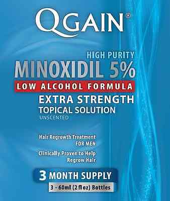 Qgain MINOXIDIL 5% Low Alcohol Formula 3 Month Supply 3 x 60ml bottles