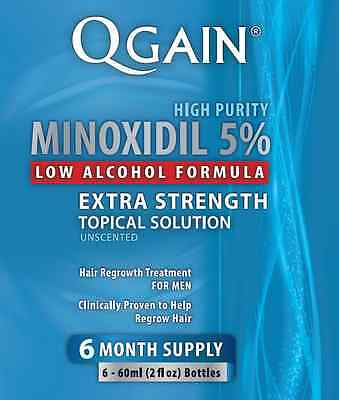 Qgain High Purity MINOXIDIL 5% LOW ALCOHOL FORMULA 6 Month Supply 6 x 60ml