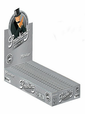 1 Box (25x) Smoking Master 1 1/4 Medium Size Zigarettenpapier Silber Papers