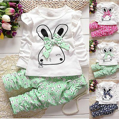 2PCS Toddler Kids Baby Girls Rabbit T-shirt Tops Dress+Pants Outfits Clothes Set