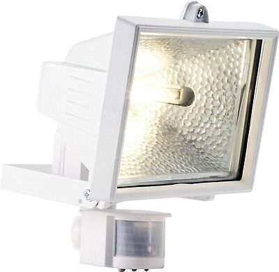 400W White Garden Halogen Floodlight c/w PIR Security Light + FREE Lamp/Bulb