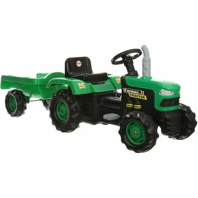 Dolu Kids Children Pedal Ride On Toy Farmer Tractor Toy With Trailer Loader