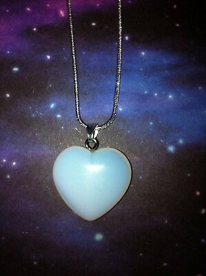 Opalite Crystal Gemstone Heart Sterling Silver Pendant Necklace