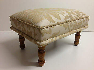 Foot stool in Laura Ashley Acantha gold/cream floral  Antique style wood legs