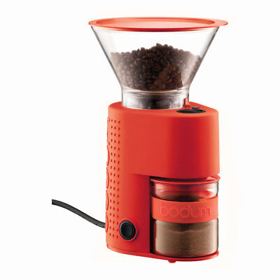 Bodum Bistro Burr - Electric Coffee Grinder - With Timer - Red