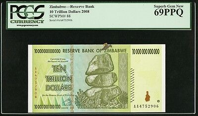 Zimbabwe Reserve Bank $10 Trillion Dollars 2008 P-88 PCGS 69PPQ Superb Gem New