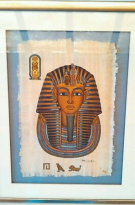 Egyptian King Tut Hand Painted Papyrus Art with Gold Highlights Framed Egypt
