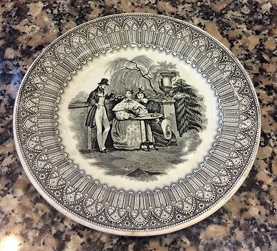 RARE ANTIQUE FRENCH PLATE, CREIL ET MONTEREAU signed, Gold medal - White & Grey