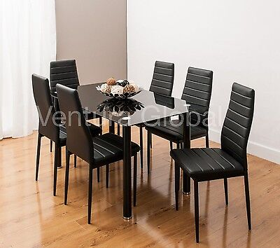 Stunning Glass Dining Table Set  With 6 Faux Leather Chairs White Black New