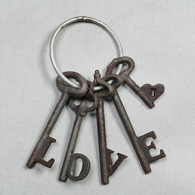 Set Of Large Cast Iron Antique Style Love Keys On Key Ring