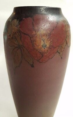 "Rookwood Decorated Painted Mat 9.25"" Vase W/flowers 1923 Elizabeth Lincoln Mint"