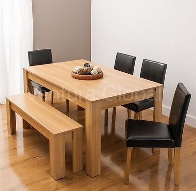 Dining Table with 4 Faux Leather Chairs and Bench Oak Walnut Furniture Room Set