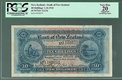New Zealand Lot P-s223b 1918 10 Shillings VF-Bank of New Zealand PCGS-20