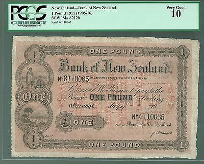 New Zealand P-s212b 1905-16 1 Pound VG Bank of New Zealand PCGS-10