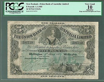 New Zealand P-s363b 1905 5 Pounds VG Union Bank of Australia Limited PCGS-10