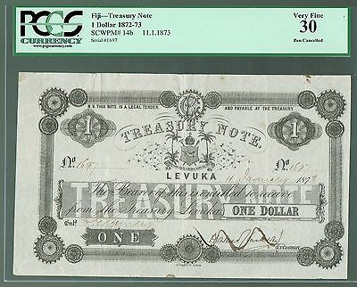 Fiji Treasury Note Levuka P-14b 1872 - 1873 1 Dollar VF PCGS-30 Pen Cancelled