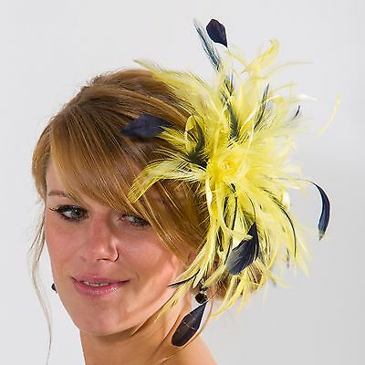 Bright yellow & Navy Blue Fascinator Hat/any satin/highlight feather colour