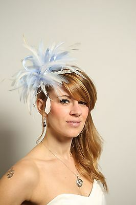 Baby Blue & white  Fascinator Hat/any satin/highlight feather colour