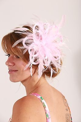Baby Pink  Fascinator Hat/any satin/highlight feather colour