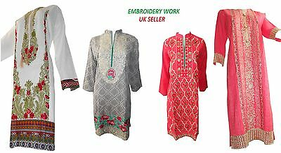 New Women Embroidery Kurta Shirt Top Ethnic Dress Kameez Women Pakistani Indian