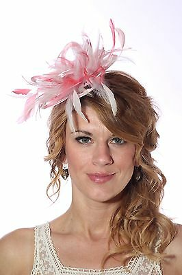 Baby Pink & Coral Pink Fascinator Hat/any satin/highlight feather colour