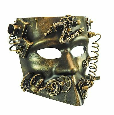 Steampunk Cat Mask Masquerade Halloween Costume Eye Face Gears Goggles Gold